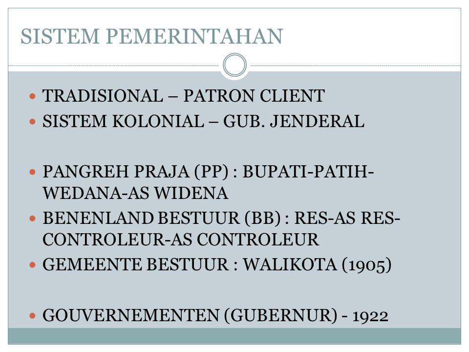 SISTEM PEMERINTAHAN  TRADISIONAL – PATRON CLIENT  SISTEM KOLONIAL – GUB.