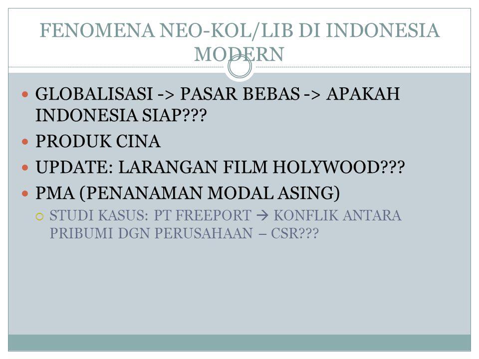 FENOMENA NEO-KOL/LIB DI INDONESIA MODERN  GLOBALISASI -> PASAR BEBAS -> APAKAH INDONESIA SIAP??.