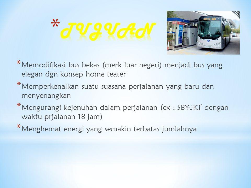 •Di Indonesia bus konsep ini jarang •Menambah kenyamanan bagi penumpang Strength •biaya operasional dan maintenance yang cukup besar Weakness