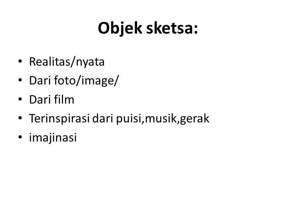 Objek sketsa: • Realitas/nyata • Dari foto/image/ • Dari film • Terinspirasi dari puisi,musik,gerak • imajinasi