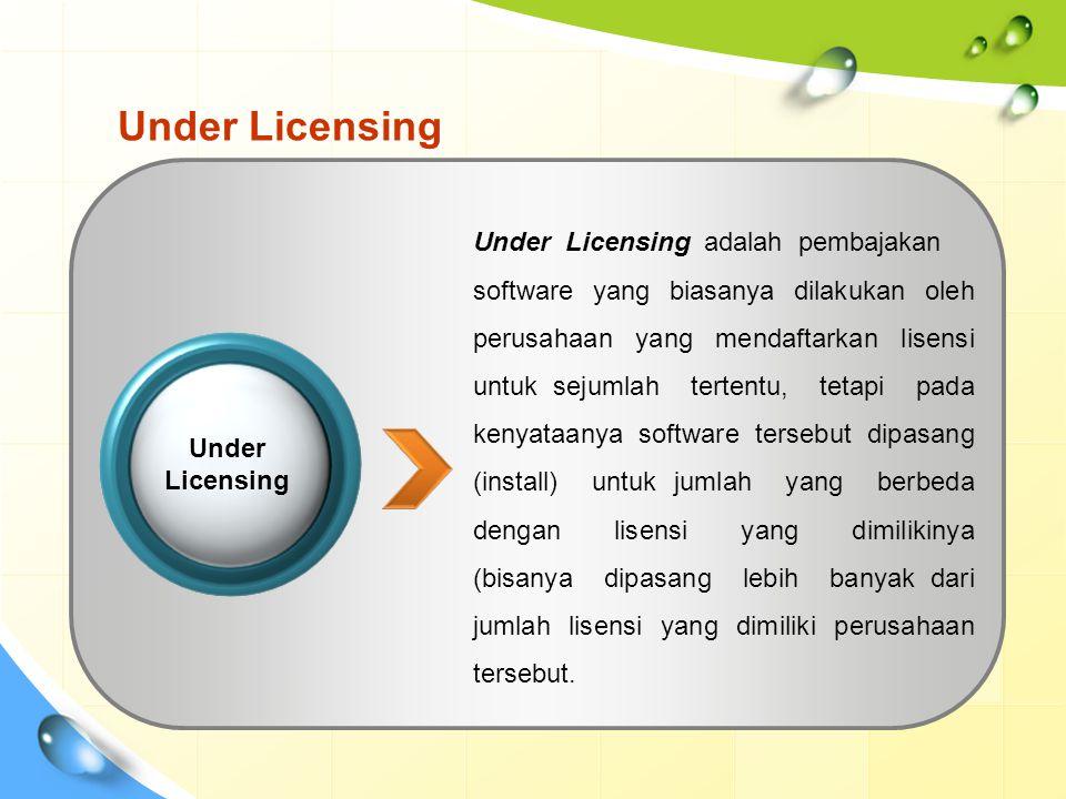Under Licensing Under Licensing adalah pembajakan software yang biasanya dilakukan oleh perusahaan yang mendaftarkan lisensi untuk sejumlah tertentu, tetapi pada kenyataanya software tersebut dipasang (install) untuk jumlah yang berbeda dengan lisensi yang dimilikinya (bisanya dipasang lebih banyak dari jumlah lisensi yang dimiliki perusahaan tersebut.