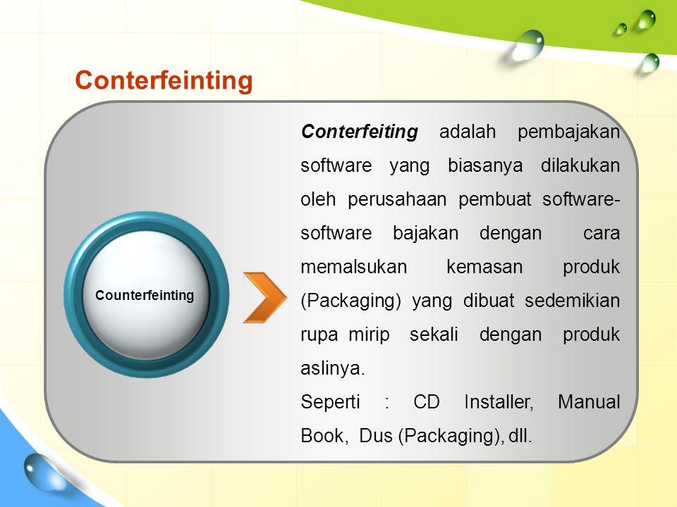 Conterfeinting Conterfeiting adalah pembajakan software yang biasanya dilakukan oleh perusahaan pembuat software- software bajakan dengan cara memalsukan kemasan produk (Packaging) yang dibuat sedemikian rupa mirip sekali dengan produk aslinya.