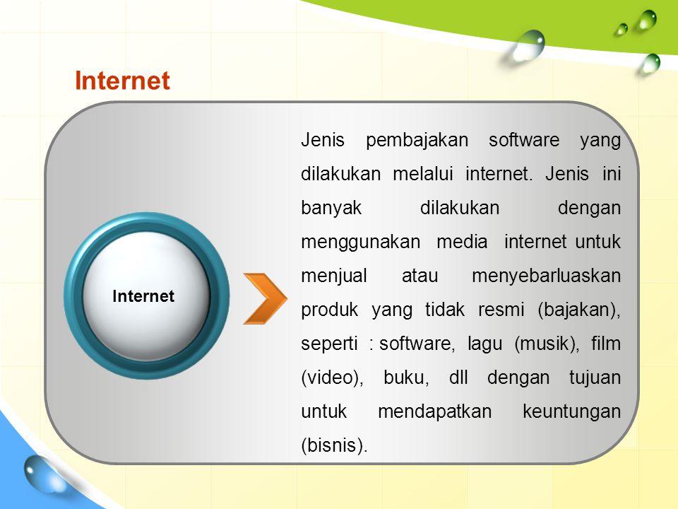 Internet Jenis pembajakan software yang dilakukan melalui internet.