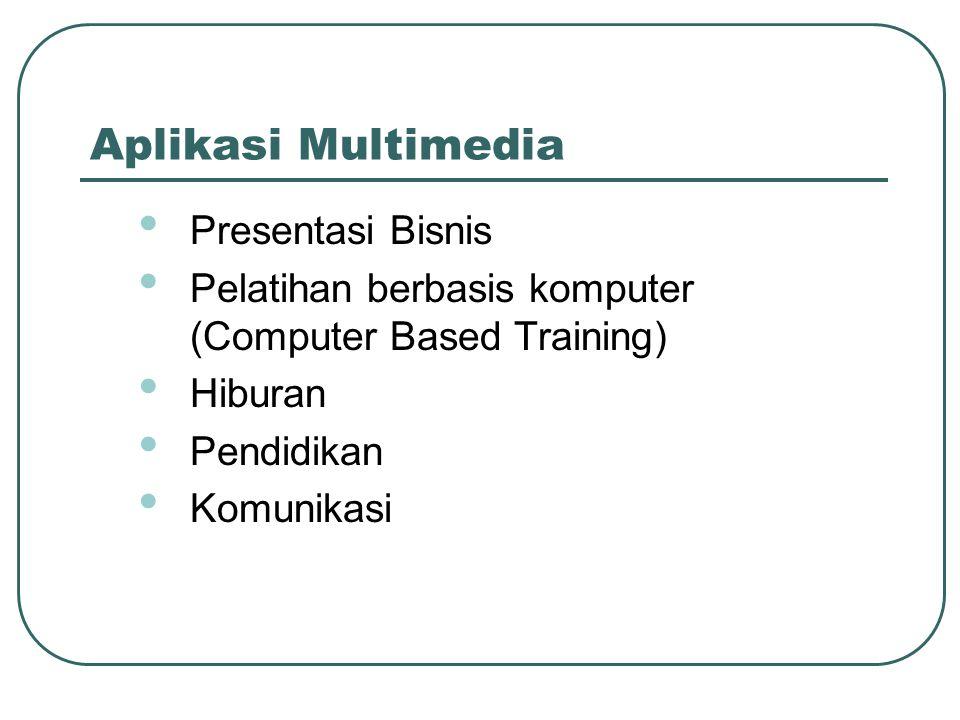 Aplikasi Multimedia • Presentasi Bisnis • Pelatihan berbasis komputer (Computer Based Training) • Hiburan • Pendidikan • Komunikasi