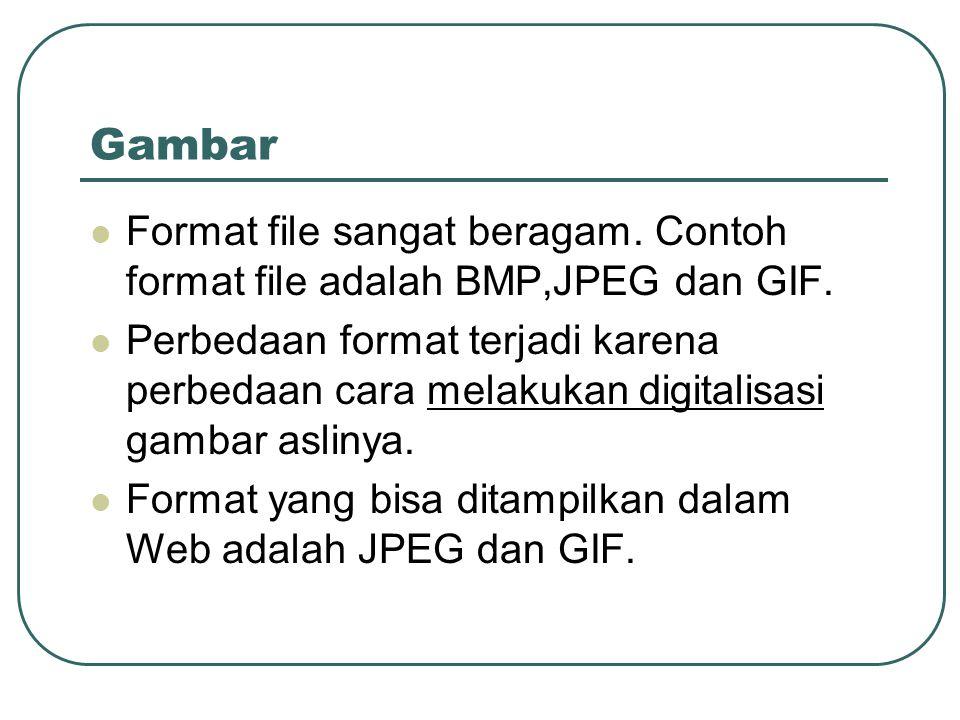 Gambar  Format file sangat beragam. Contoh format file adalah BMP,JPEG dan GIF.  Perbedaan format terjadi karena perbedaan cara melakukan digitalisa