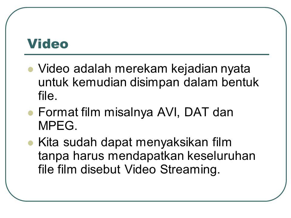 Video  Video adalah merekam kejadian nyata untuk kemudian disimpan dalam bentuk file.  Format film misalnya AVI, DAT dan MPEG.  Kita sudah dapat me