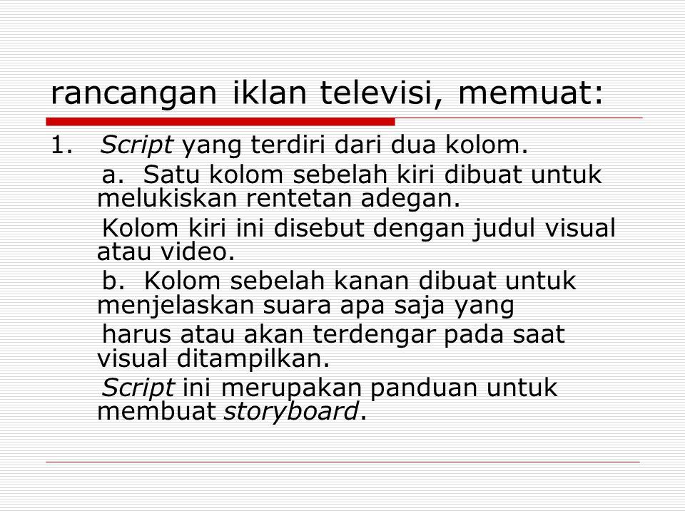 rancangan iklan televisi, memuat: 1.Script yang terdiri dari dua kolom.