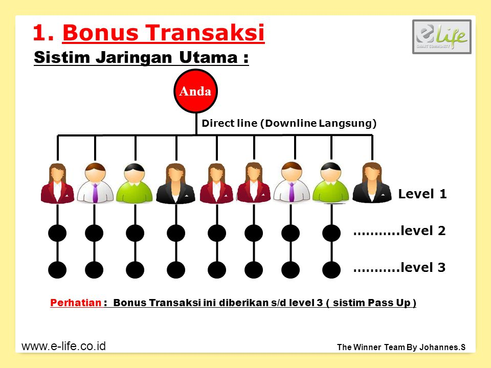 Anda Sistim Jaringan Utama : Direct line (Downline Langsung) Level 1 ………..level 2 ………..level 3 1.