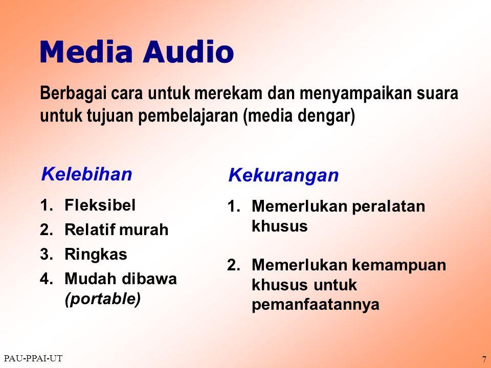 PAU-PPAI-UT 7 1.Fleksibel 2. Relatif murah 3.Ringkas 4.Mudah dibawa (portable) Berbagai cara untuk merekam dan menyampaikan suara untuk tujuan pembela