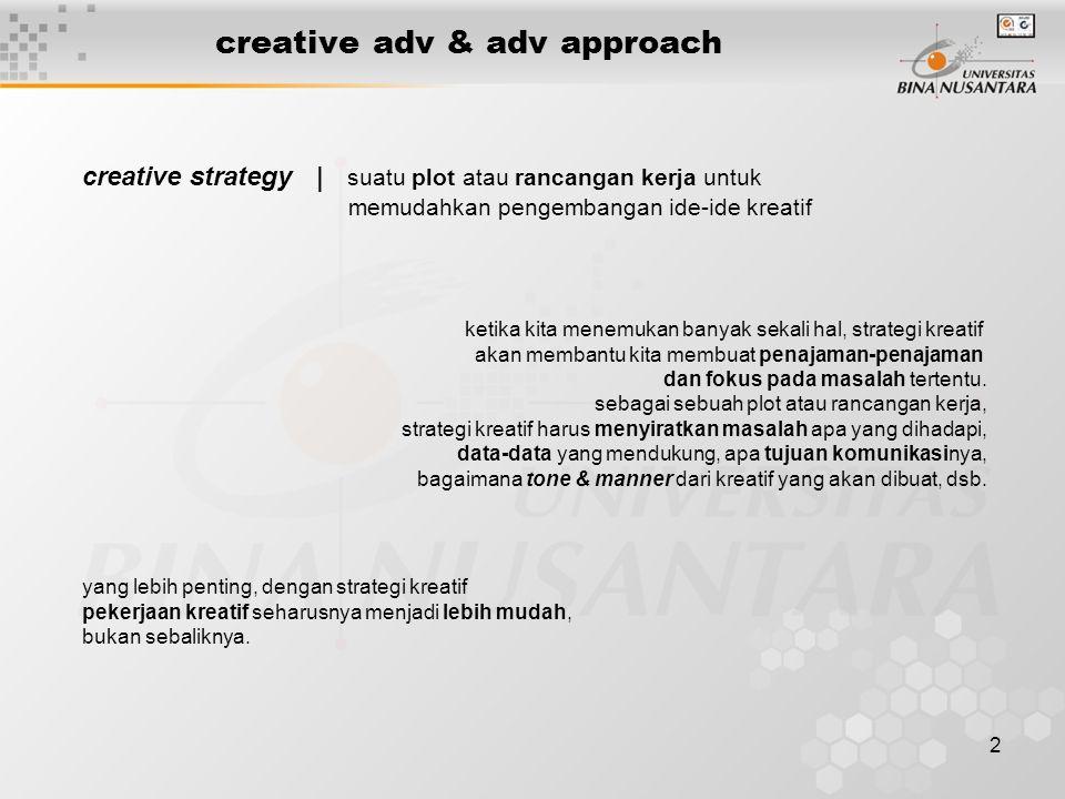 2 creative adv & adv approach creative strategy | suatu plot atau rancangan kerja untuk memudahkan pengembangan ide-ide kreatif ketika kita menemukan
