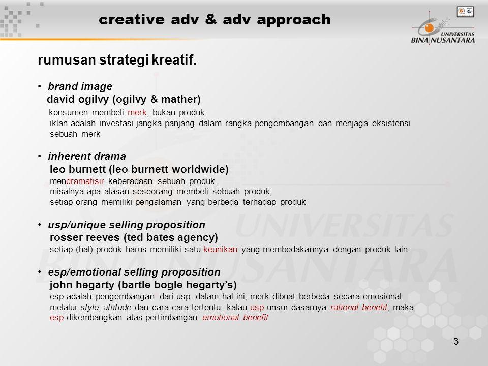 3 creative adv & adv approach rumusan strategi kreatif. • brand image david ogilvy (ogilvy & mather) konsumen membeli merk, bukan produk. iklan adalah