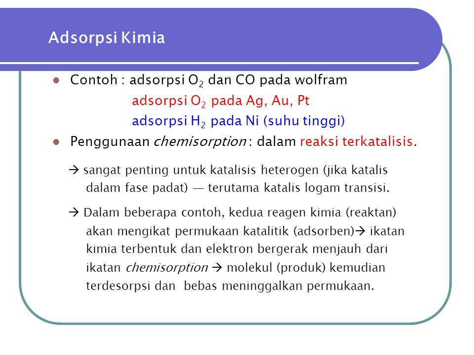  Contoh : adsorpsi O 2 dan CO pada wolfram adsorpsi O 2 pada Ag, Au, Pt adsorpsi H 2 pada Ni (suhu tinggi)  Penggunaan chemisorption : dalam reaksi