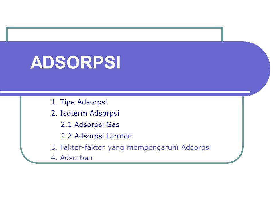 ADSORPSI 1. Tipe Adsorpsi 2. Isoterm Adsorpsi 2.1 Adsorpsi Gas 2.2 Adsorpsi Larutan 3. Faktor-faktor yang mempengaruhi Adsorpsi 4. Adsorben
