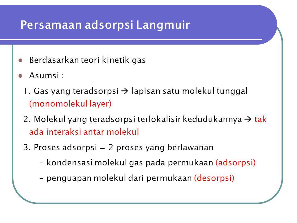 Persamaan adsorpsi Langmuir  Berdasarkan teori kinetik gas  Asumsi : 1. Gas yang teradsorpsi  lapisan satu molekul tunggal (monomolekul layer) 2. M