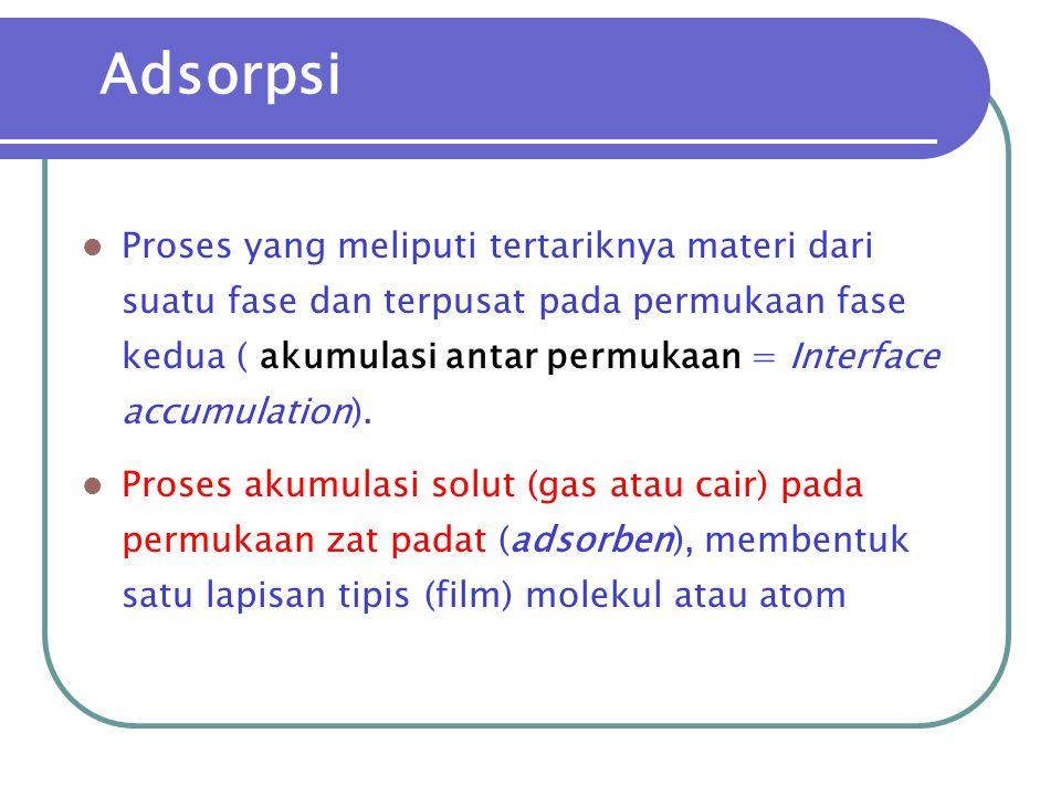 Adsorpsi Fisik  Energi yang menyertai adsorpsi = energi pencairan gas (gaya van der Waals)  Penggunaan :  penentuan luas permukaan adsorben  analisis kromatografi (KLT, Kolom, KCKT/HPLC)  pemurnian gas, perlindungan korosi Adsorpsi H 2 pada Nikel : peristiwa fisik / kimia Suhu rendah  fisik Suhu tinggi  kimia  Contoh : adsorpsi N 2 pada besi pada 80 K, adsorpsi gas oleh arang