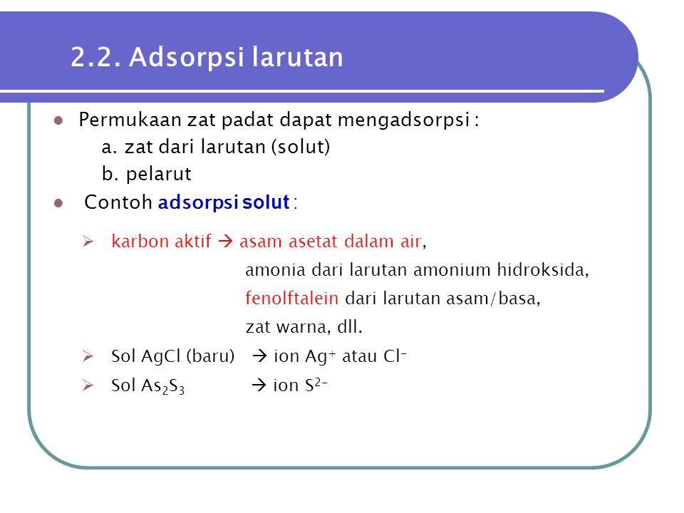  Permukaan zat padat dapat mengadsorpsi : a. zat dari larutan (solut) b. pelarut  Contoh adsorpsi solut : 2.2. Adsorpsi larutan  karbon aktif  asa