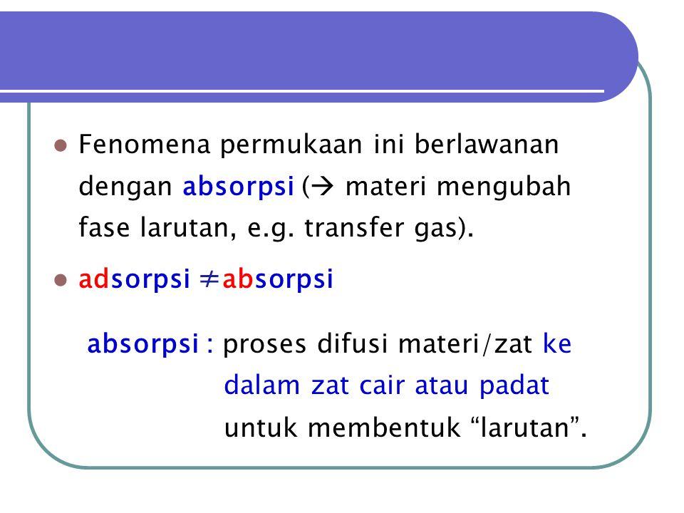  Fenomena permukaan ini berlawanan dengan absorpsi (  materi mengubah fase larutan, e.g. transfer gas).  adsorpsi ≠ absorpsi absorpsi : proses difu