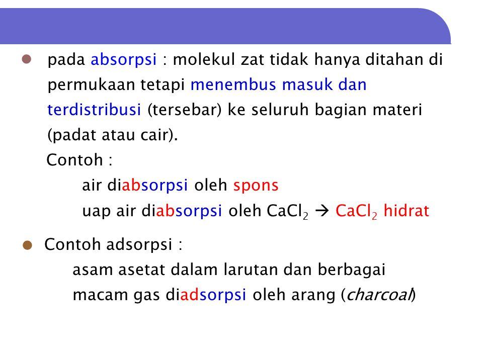  Adsorbat : materi yang teradsorbsi  Adsorben : materi yang mengadsorbsi.