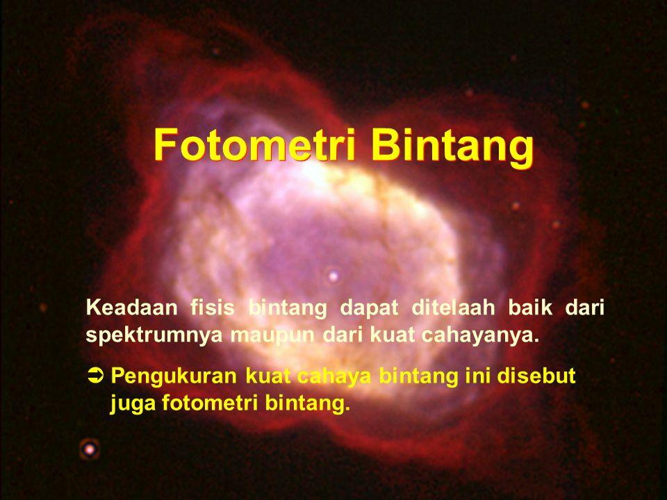 DND-2006 Fotometri Bintang Fotometri Bintang Keadaan fisis bintang dapat ditelaah baik dari spektrumnya maupun dari kuat cahayanya.  Pengukuran kuat