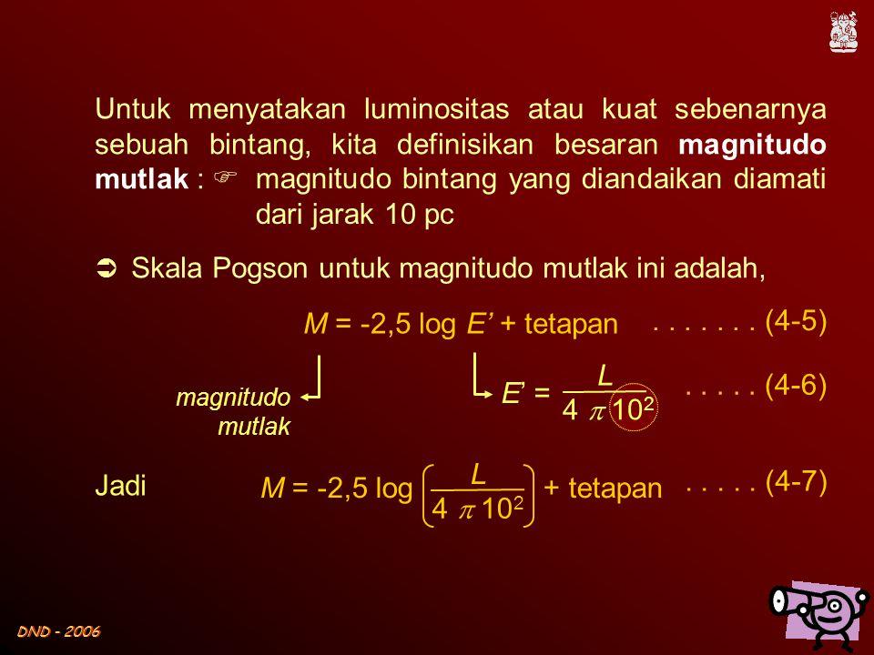 DND - 2006 E' = L 4  10 2 Untuk menyatakan luminositas atau kuat sebenarnya sebuah bintang, kita definisikan besaran magnitudo mutlak : M = -2,5 log