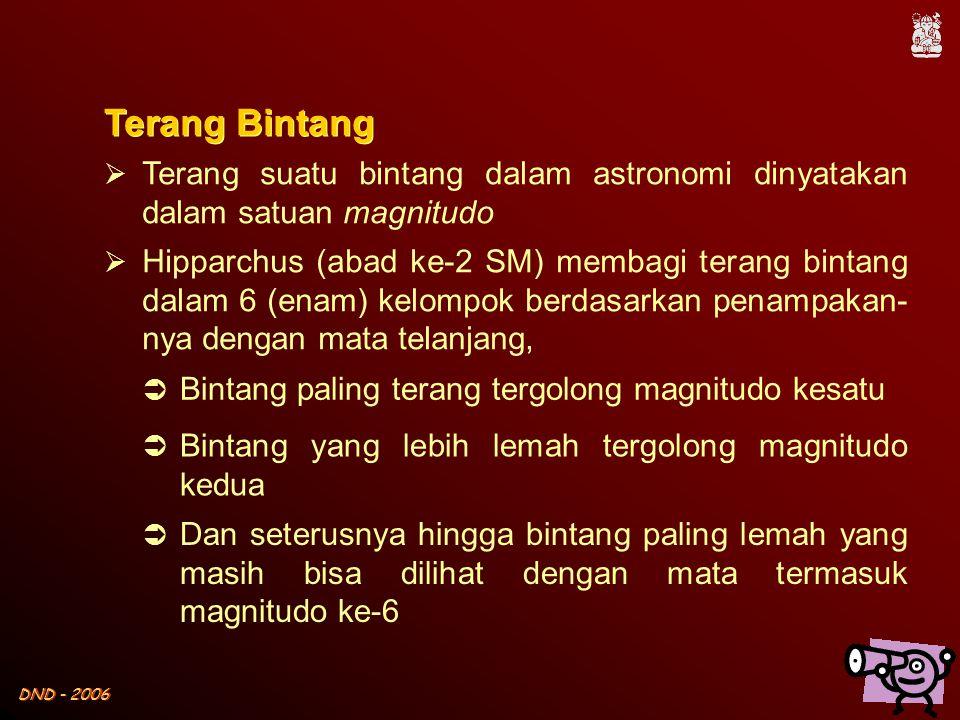 DND - 2006  Terang suatu bintang dalam astronomi dinyatakan dalam satuan magnitudo  Hipparchus (abad ke-2 SM) membagi terang bintang dalam 6 (enam)