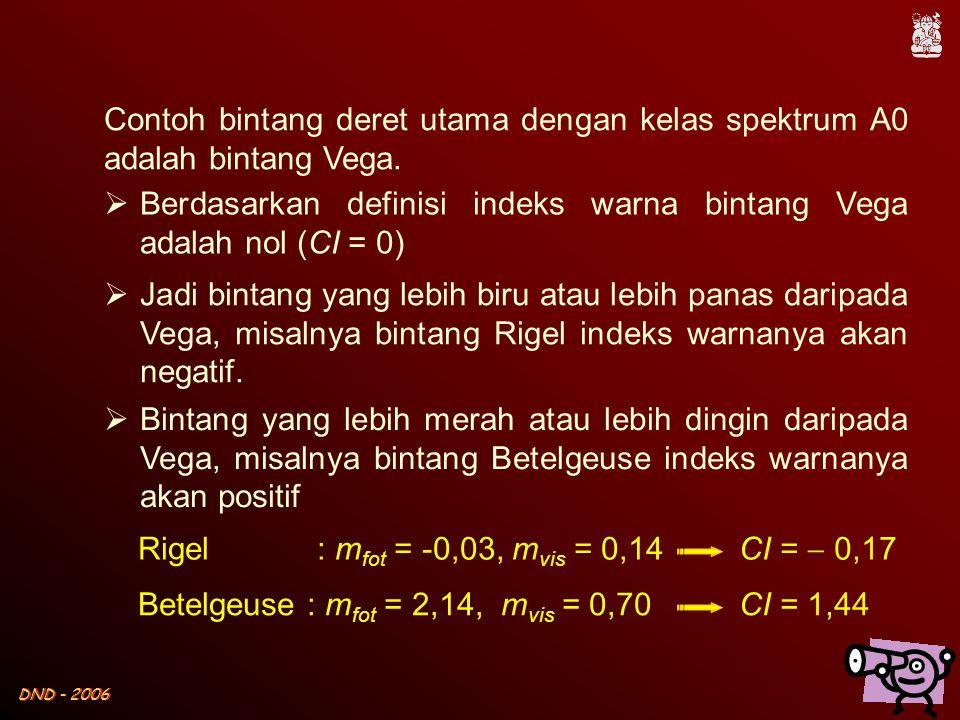 DND - 2006 Contoh bintang deret utama dengan kelas spektrum A0 adalah bintang Vega.  Berdasarkan definisi indeks warna bintang Vega adalah nol (CI =