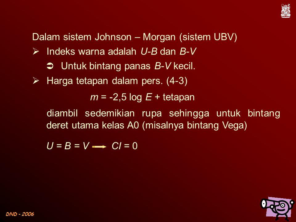 DND - 2006  Indeks warna adalah U-B dan B-V  Untuk bintang panas B-V kecil.  Harga tetapan dalam pers. (4-3) Dalam sistem Johnson – Morgan (sistem