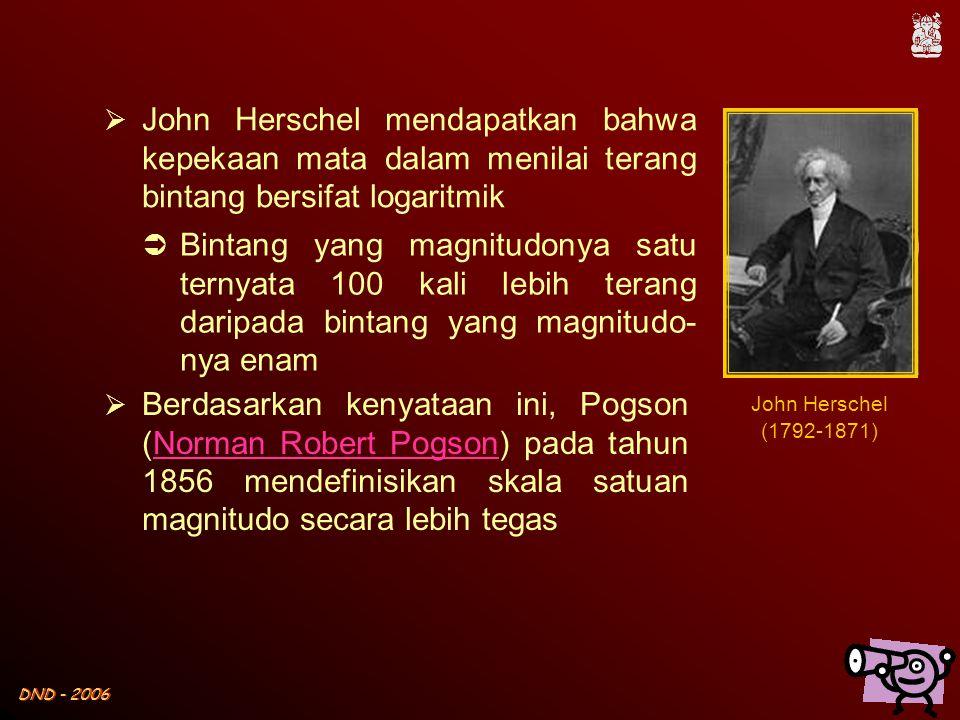 DND - 2006  John Herschel mendapatkan bahwa kepekaan mata dalam menilai terang bintang bersifat logaritmik  Bintang yang magnitudonya satu ternyata