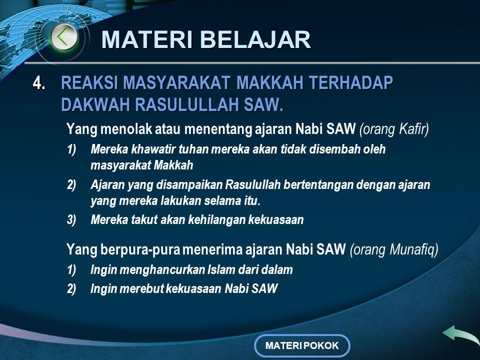 MATERI BELAJAR 4.REAKSI MASYARAKAT MAKKAH TERHADAP DAKWAH RASULULLAH SAW. Alasan orang-orang yang menerima ajaran Nabi SAW (orang Islam) a.Mereka meya