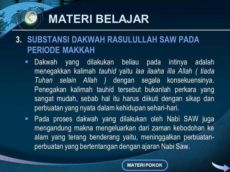 MATERI BELAJAR 2.STRATEGI DAKWAH RASULULLAH SAW PADA PERIODE MAKKAH b.Dakwah secara terang-terangan Firman Allah Q.S. Al Hijr ayat 94 yang intinya mem
