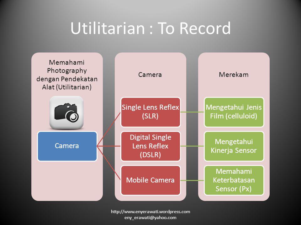 Utilitarian : To Record MerekamCamera Memahami Photography dengan Pendekatan Alat (Utilitarian) Camera Single Lens Reflex (SLR) Mengetahui Jenis Film (celluloid) Digital Single Lens Reflex (DSLR) Mengetahui Kinerja Sensor Mobile Camera Memahami Keterbatasan Sensor (Px) http://www.enyerawati.wordpress.com eny_erawati@yahoo.com