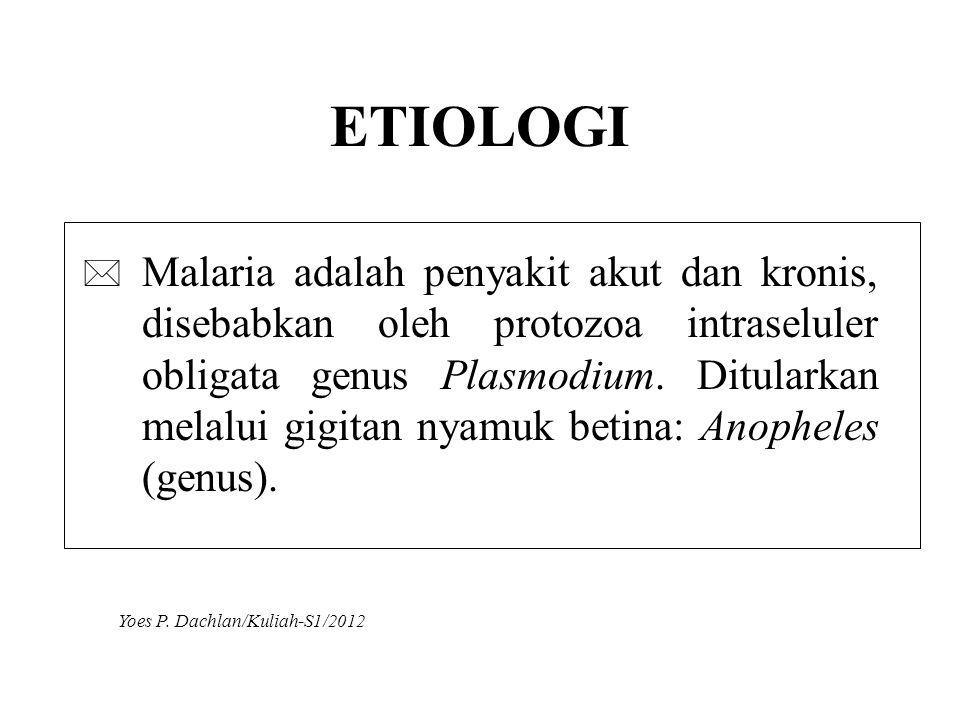 ETIOLOGI * Malaria adalah penyakit akut dan kronis, disebabkan oleh protozoa intraseluler obligata genus Plasmodium. Ditularkan melalui gigitan nyamuk