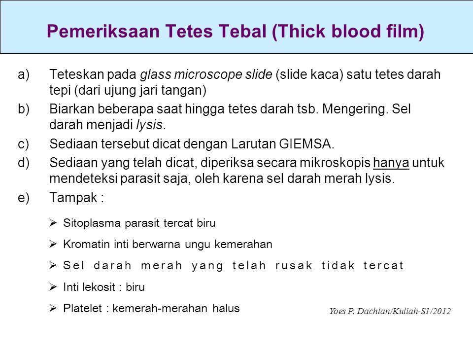 a)Teteskan pada glass microscope slide (slide kaca) satu tetes darah tepi (dari ujung jari tangan) b)Biarkan beberapa saat hingga tetes darah tsb. Men