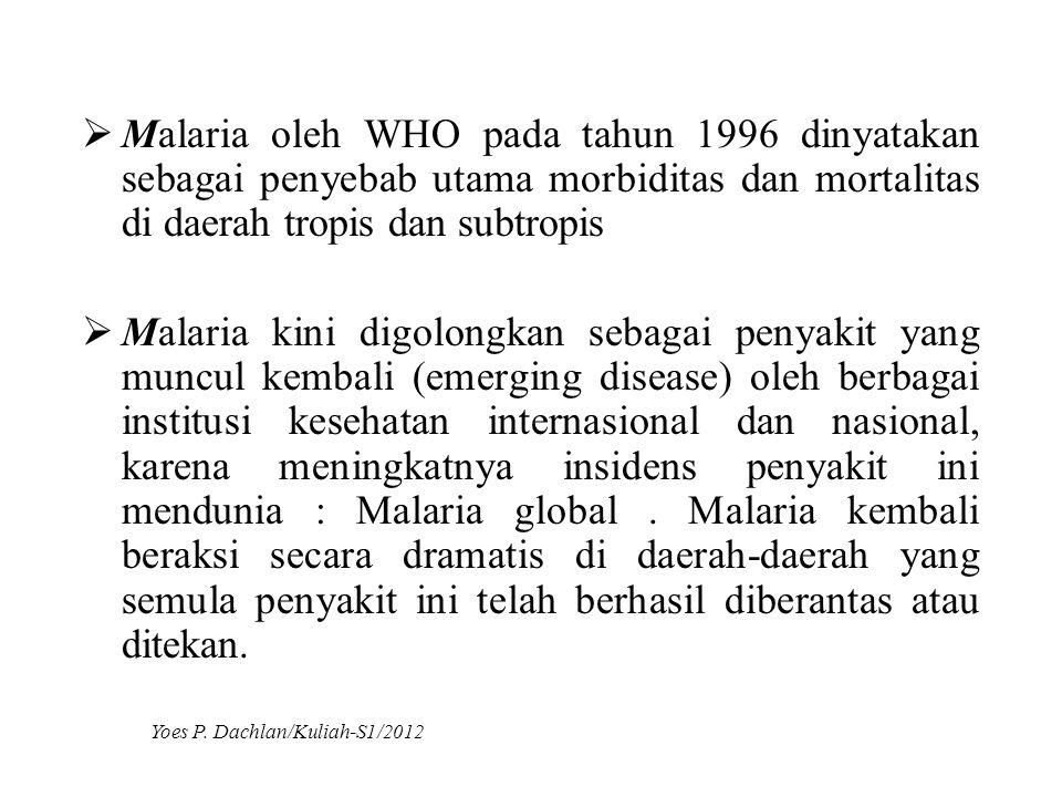  Malaria oleh WHO pada tahun 1996 dinyatakan sebagai penyebab utama morbiditas dan mortalitas di daerah tropis dan subtropis  Malaria kini digolongk