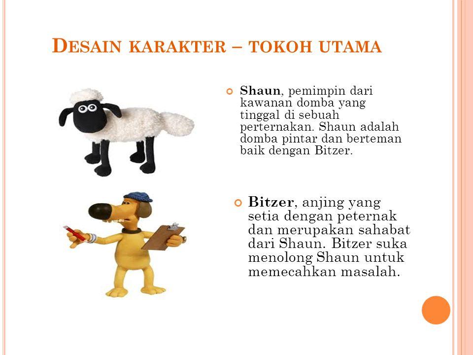 D ESAIN KARAKTER – TOKOH UTAMA Shaun, pemimpin dari kawanan domba yang tinggal di sebuah perternakan.