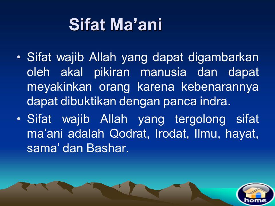 Wahdaniyah = Maha Esa •Tuhan hanya satu.Tidak mungkin ada dua Tuhan. Jika lebih satu Tuhan maka akan menjadi malapetaka karena beda keinginan •Artinya