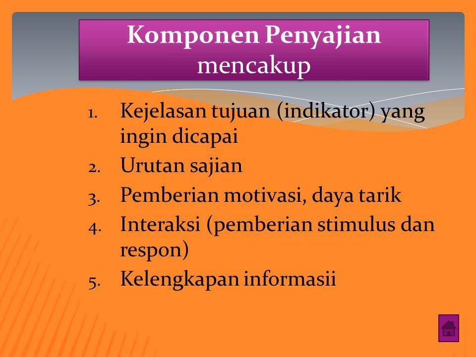 Komponen Kebahasaan mencakup : 1. Keterbacaan 2. Kejelasan informasi 3. Kesesuaian dengan kaidah Bahasa Indonesia yang baik dan benar 4. Pemanfaatan b