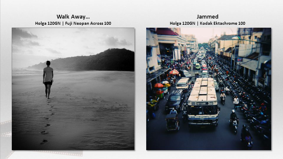Walk Away… Holga 120GN | Fuji Neopan Across 100 Jammed Holga 120GN | Kodak Ektachrome 100