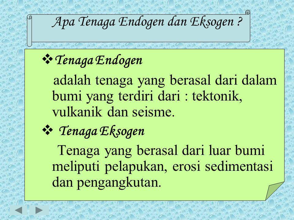 PROSES ENDOGEN DAN EKSOGEN  Tenaga Endogen dan Eksogen  Sifat Tenaga Endogen dan Eksogen  Hasil tenaga Endogen dan Eksogen  Proses Vulkanisme  T