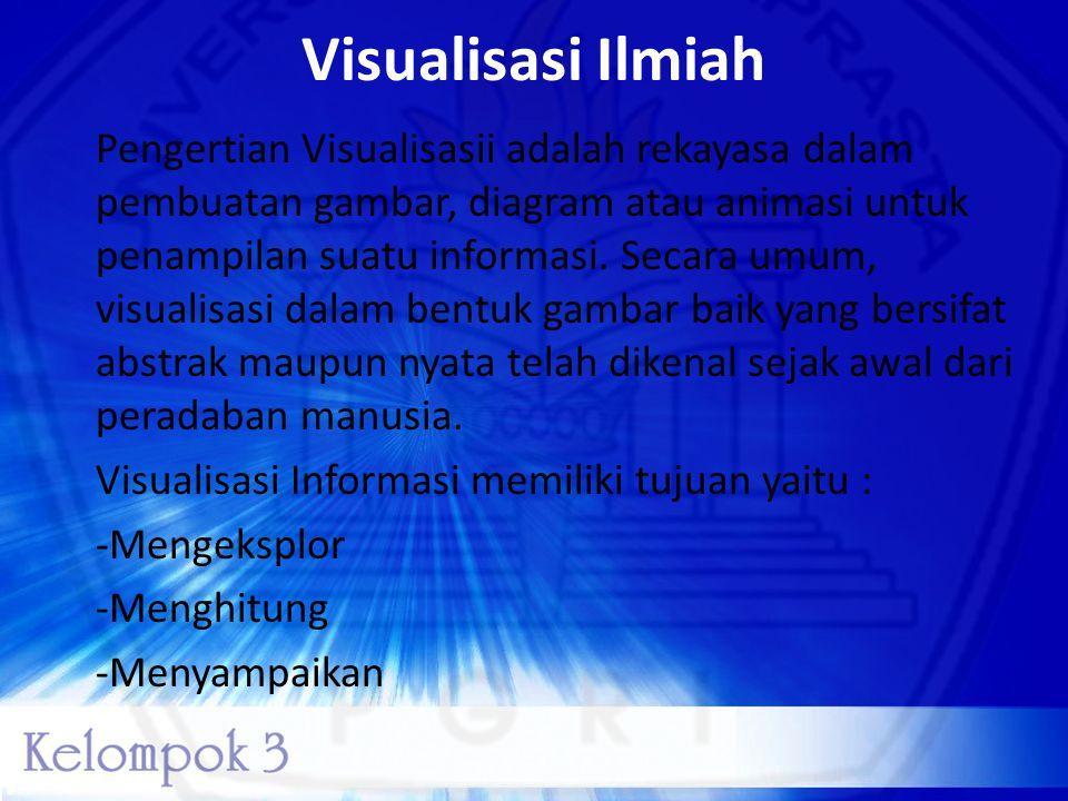 Visualisasi Ilmiah Pengertian Visualisasii adalah rekayasa dalam pembuatan gambar, diagram atau animasi untuk penampilan suatu informasi. Secara umum,