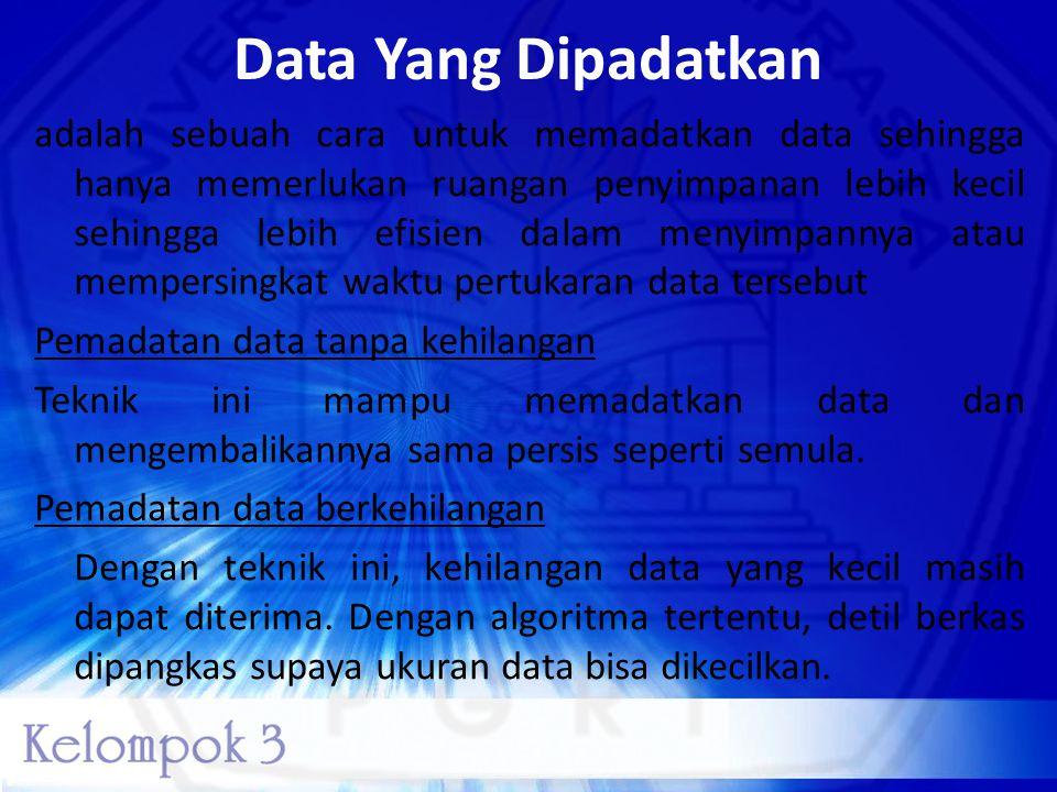 Data Yang Dipadatkan adalah sebuah cara untuk memadatkan data sehingga hanya memerlukan ruangan penyimpanan lebih kecil sehingga lebih efisien dalam m