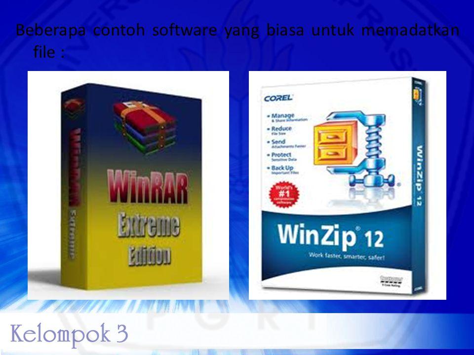Beberapa contoh software yang biasa untuk memadatkan file :