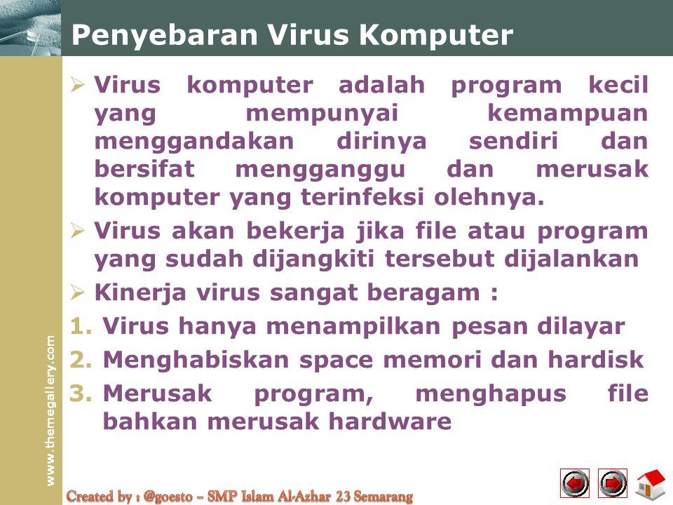 www.themegallery.com Penyebaran Virus Komputer  Virus komputer adalah program kecil yang mempunyai kemampuan menggandakan dirinya sendiri dan bersifat mengganggu dan merusak komputer yang terinfeksi olehnya.