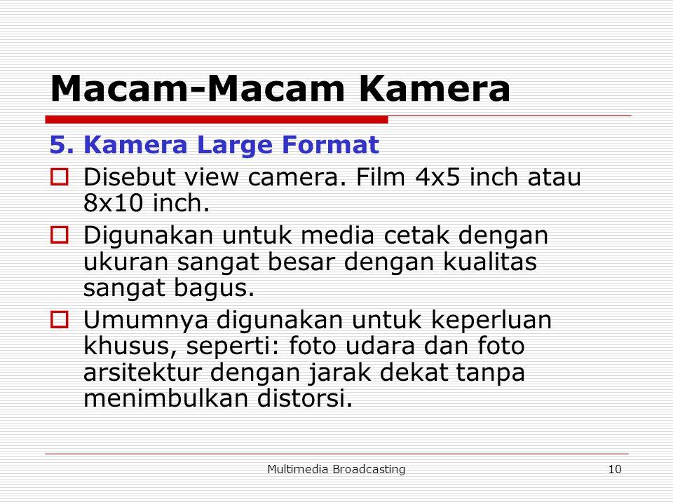 Multimedia Broadcasting10 Macam-Macam Kamera 5.Kamera Large Format  Disebut view camera.