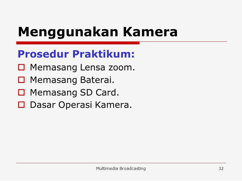 Multimedia Broadcasting32 Menggunakan Kamera Prosedur Praktikum:  Memasang Lensa zoom.