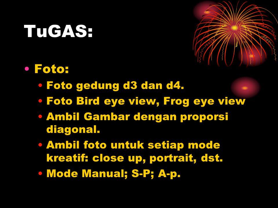TuGAS: •Foto: •Foto gedung d3 dan d4. •Foto Bird eye view, Frog eye view •Ambil Gambar dengan proporsi diagonal. •Ambil foto untuk setiap mode kreatif