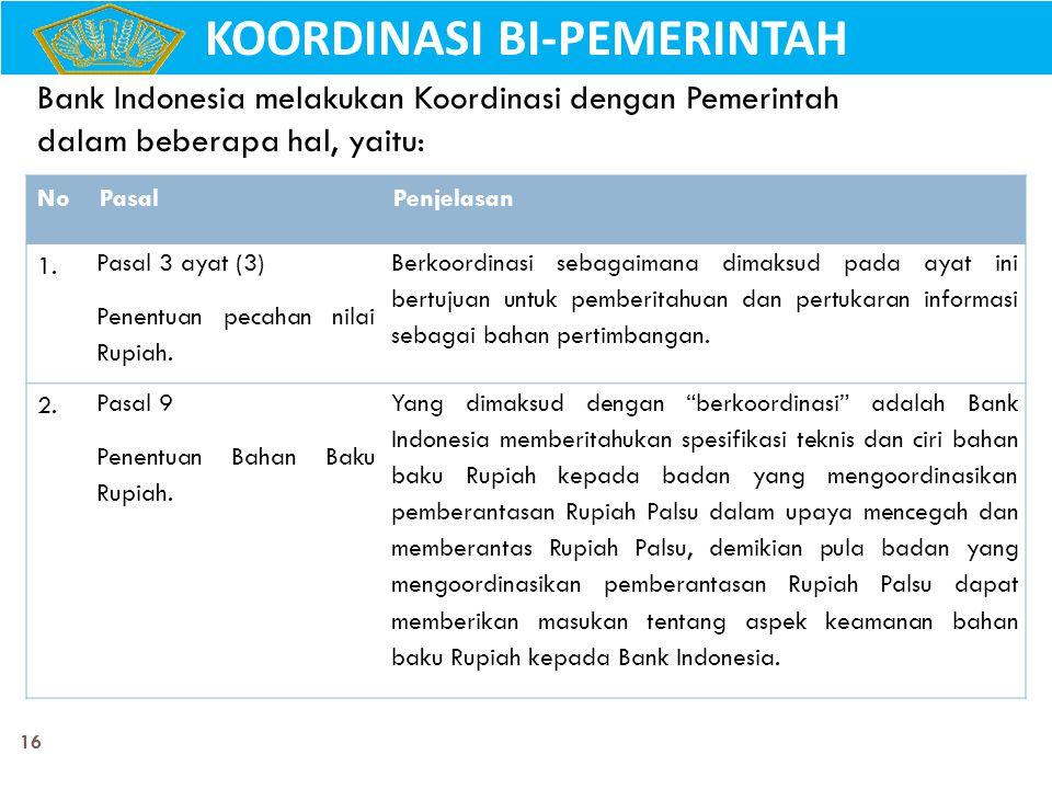 16 Bank Indonesia melakukan Koordinasi dengan Pemerintah dalam beberapa hal, yaitu: NoPasalPenjelasan 1. Pasal 3 ayat (3) Penentuan pecahan nilai Rupi