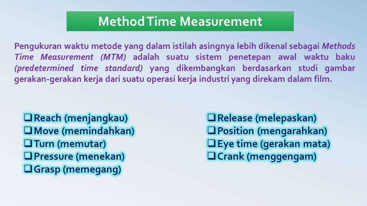 Method Time Measurement Pengukuran waktu metode yang dalam istilah asingnya lebih dikenal sebagai Methods Time Measurement (MTM) adalah suatu sistem p