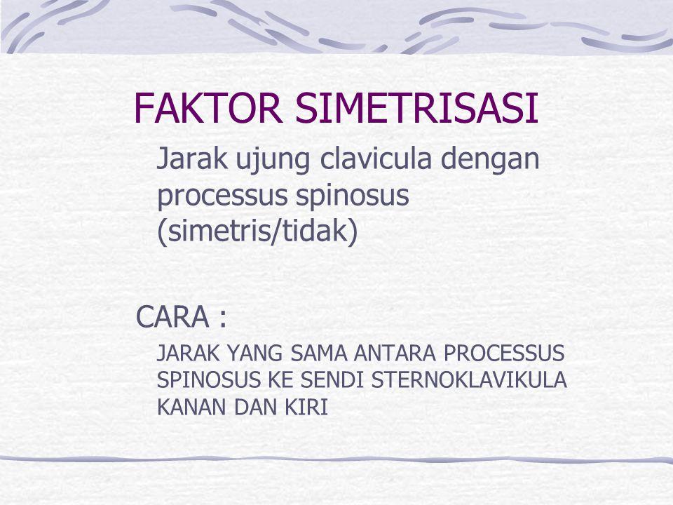FAKTOR SIMETRISASI Jarak ujung clavicula dengan processus spinosus (simetris/tidak) CARA : JARAK YANG SAMA ANTARA PROCESSUS SPINOSUS KE SENDI STERNOKL