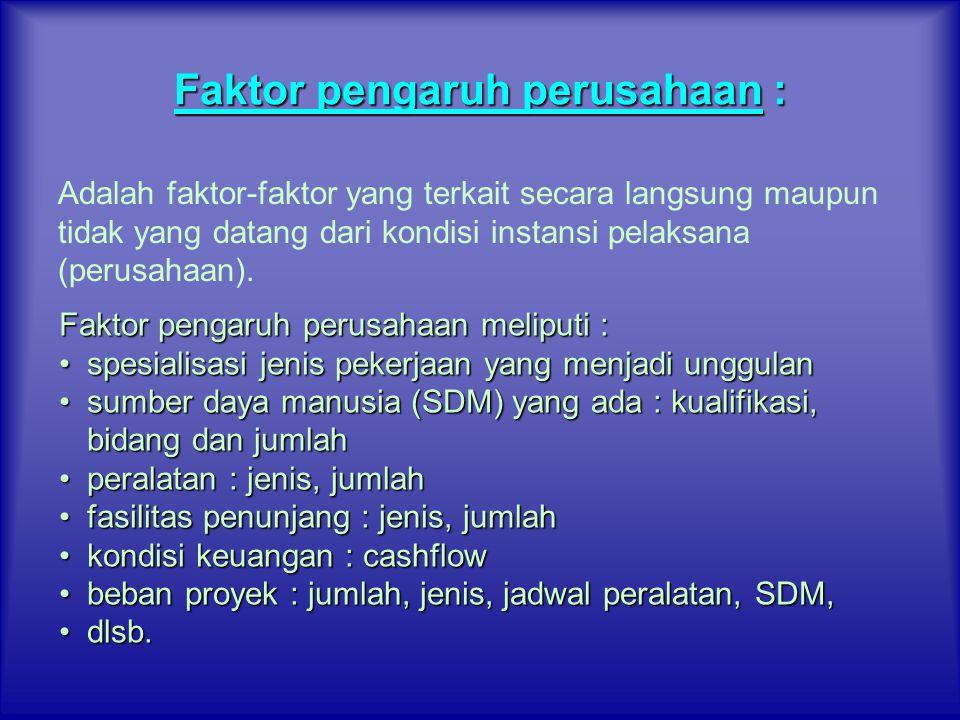 Faktor pengaruh perusahaan : Adalah faktor-faktor yang terkait secara langsung maupun tidak yang datang dari kondisi instansi pelaksana (perusahaan).